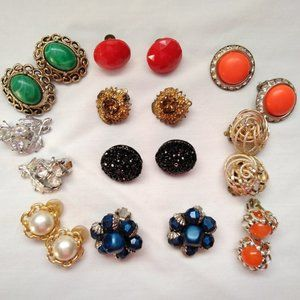 Vintage Clip On Earrings Lot of  10 Pairs